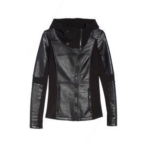 Blanc Noir faux leather motto jacket size S